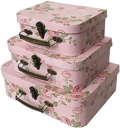 Juego de 3 cajas de regalo de compromiso para boda, día de San Valentín, día de la madre, mango de metal, regalos de boda y flores de papel, rosa, L M S: