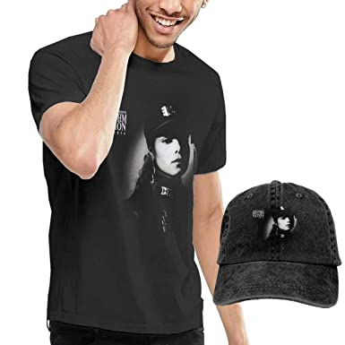 GabrielR Men s Janet Jackson Rhythm Nation 1814 Tee and Washed Denim  Baseball Dad Hats Black S 116dd29e1bf