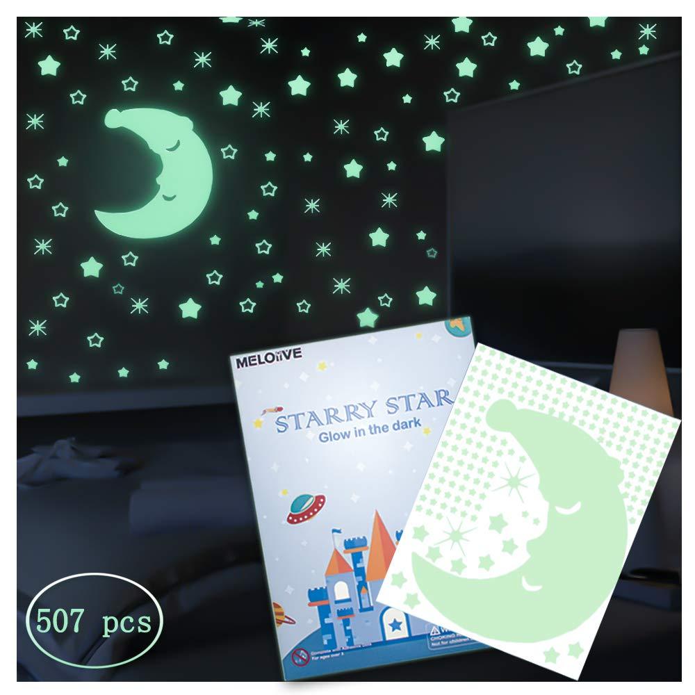 ffb38be663 Meloive Pegatinas de Estrellas para Pared Que Brillan en la Oscuridad,507  Calcomanías Luminosas de