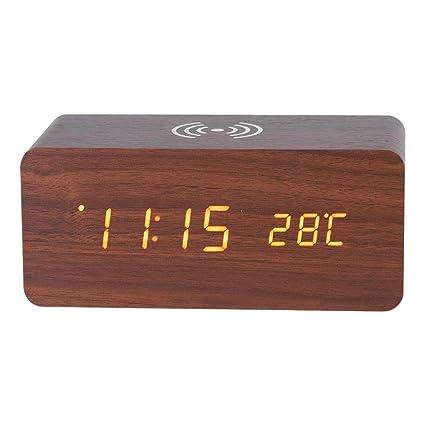 Haofy Reloj Digital Despertador de Madera LED con Control de Sonido con Carga Inalámbrica(Marrón