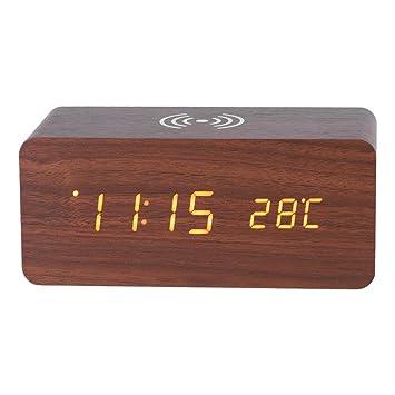 Haofy Reloj Digital Despertador de Madera LED con Control de Sonido con Carga Inalámbrica(Marrón): Amazon.es: Hogar