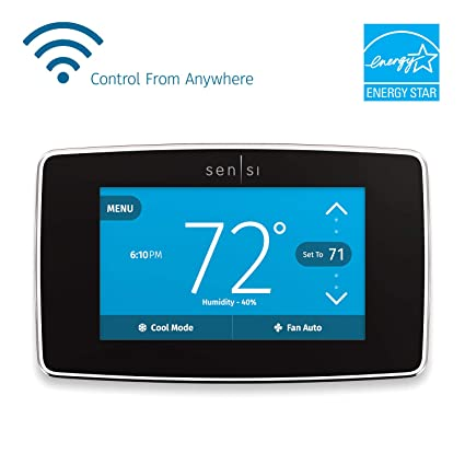 Emerson Sensi Touch Wi-Fi Smart Thermostat with Touchscreen Color Display, on