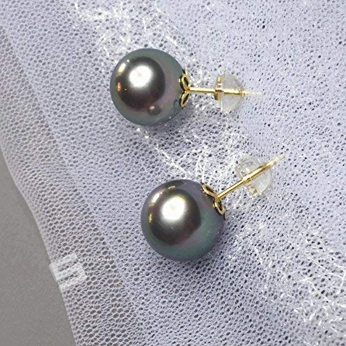 11MM Cultured Tahitian Pearls Gold Earrings, Authentic Saltwater Balck Pearls And 18KT Solid Gold Stud Earrings, South Sea Pearl Earrings