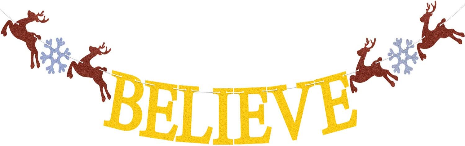 Glitter Believe Christmas Banner Snowflakes Reindeer Decorations for Merry Christmas Xmas Happy New Year Winter Holiday Party Decor