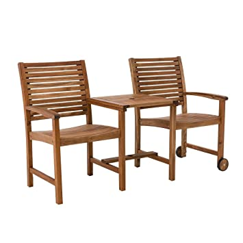 Amazon De Pureday Gartenbank Mit Tisch 2 Sitzer Akazie Massiv Holz