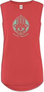 product image for Soul Flower Women's Organic Cotton Heavily Meditated Muscle Tank Top, Red Long Graphic Yoga Top, Sleeveless Ladies Shirt