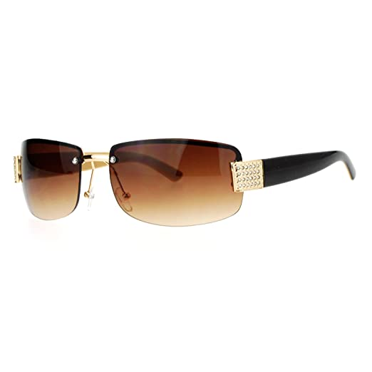 7141c22146c SA106 Rimless Rhinestone Jewel Hinge Luxury Bling Sunglasses Brown Beige