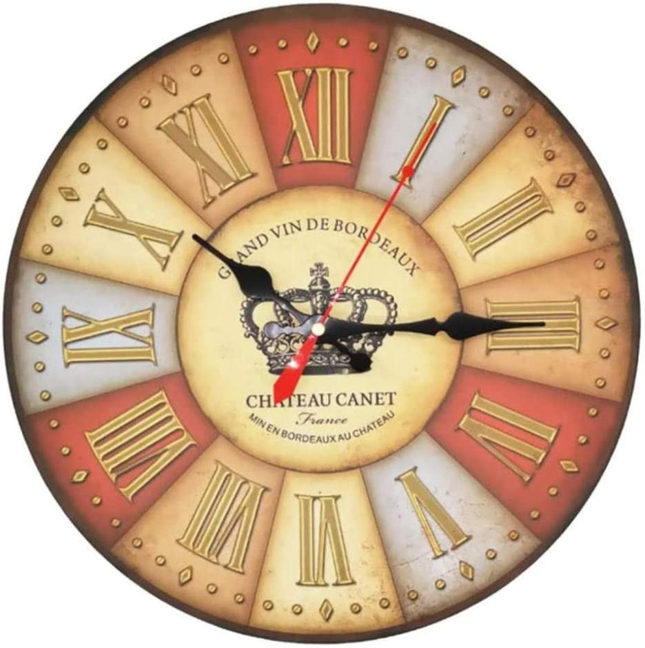 JHLP 34cm Reloj de Pared de Madera silencioso Retro Quartz Large Vintage Rústico Shabby Colorful Sin tictac Old Town Crown Números Romanos Crown