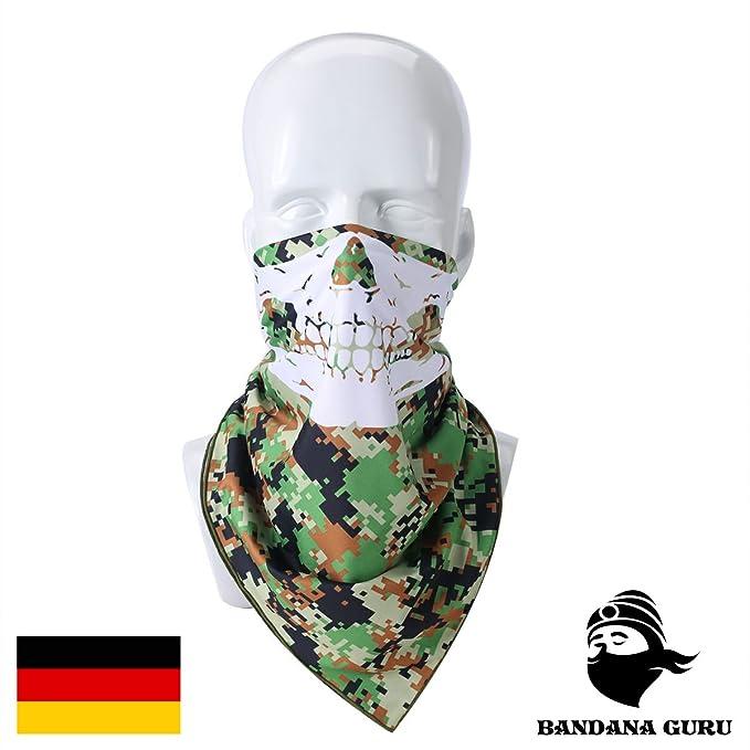suchen rationelle Konstruktion Finden Sie den niedrigsten Preis Camouflage Halstuch Atmungsaktiv im Militär Tarnfarben Tactical Style mit  Totenkopf Aufdruck für Motorrad, Paintball, Outdoor