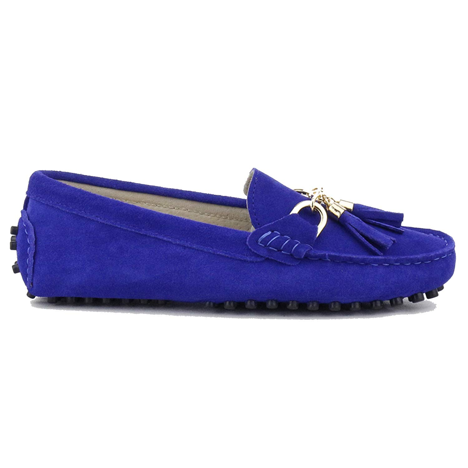 Royal bluee Fashion Women Lady Leather Loafers Casual Driving shoes Women Flats shoes