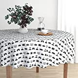 Roostery Round Tablecloth - Video Game Pattern Black and White Vintage Retro Fun Gaming by Cloudycapevintage - Cotton Sateen Tablecloth 70in