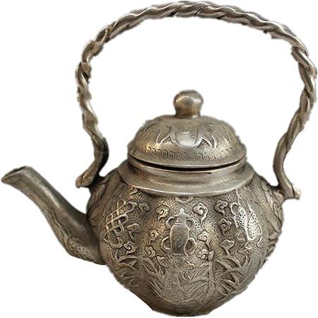 zb-tonghu Tetera de Cobre artesanía Bronce galvanoplastia níquel casa de antigüedades Creatividad decoración clásico Ocho Inmortales Tesoro Pot: Amazon.es: Hogar