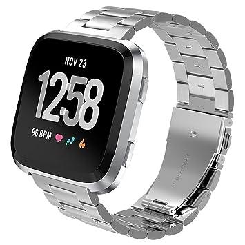 PUGO TOP Correa para Fitbit Versa Watch,de Acero Inoxidable, Correa para Pulsera para Fitbit Versa Lite Smartwatch- Plata