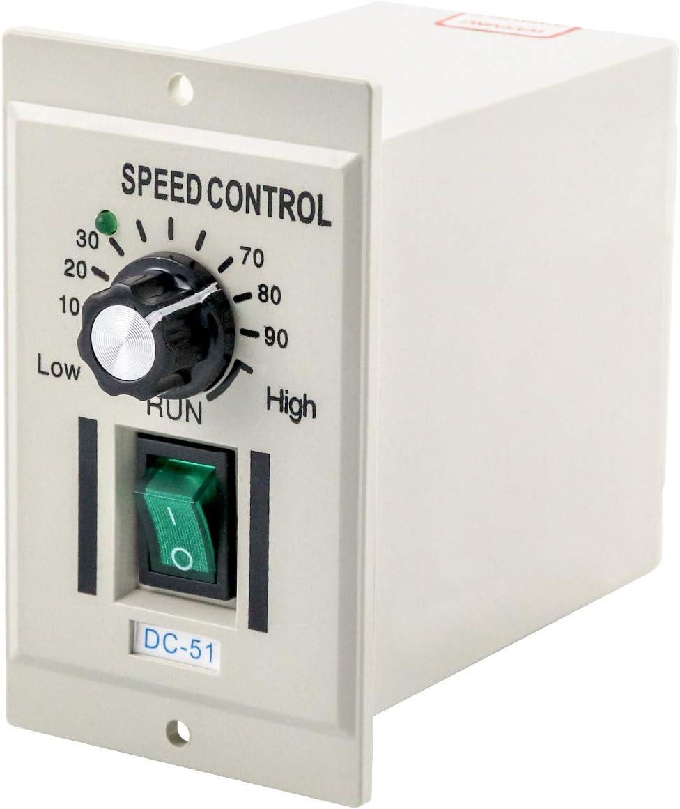 QWORK AC 110V 100W Knob Motor Speed Controller DC 0-24V Variable Adjustable Speed Regulator for 24V DC Motors