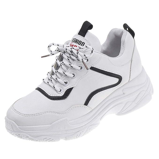 Zapatilla Blanca de Mujer Zapatillas Deportivas de Plataforma Ligera Zapatillas de Correr Zapatos de Punta Redonda con Cordones: Amazon.es: Ropa y ...
