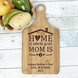 "Engraved Home is Where Your Mom is Paddle Cutting Board, 7"" W x 13.5"" L, Bamboo"