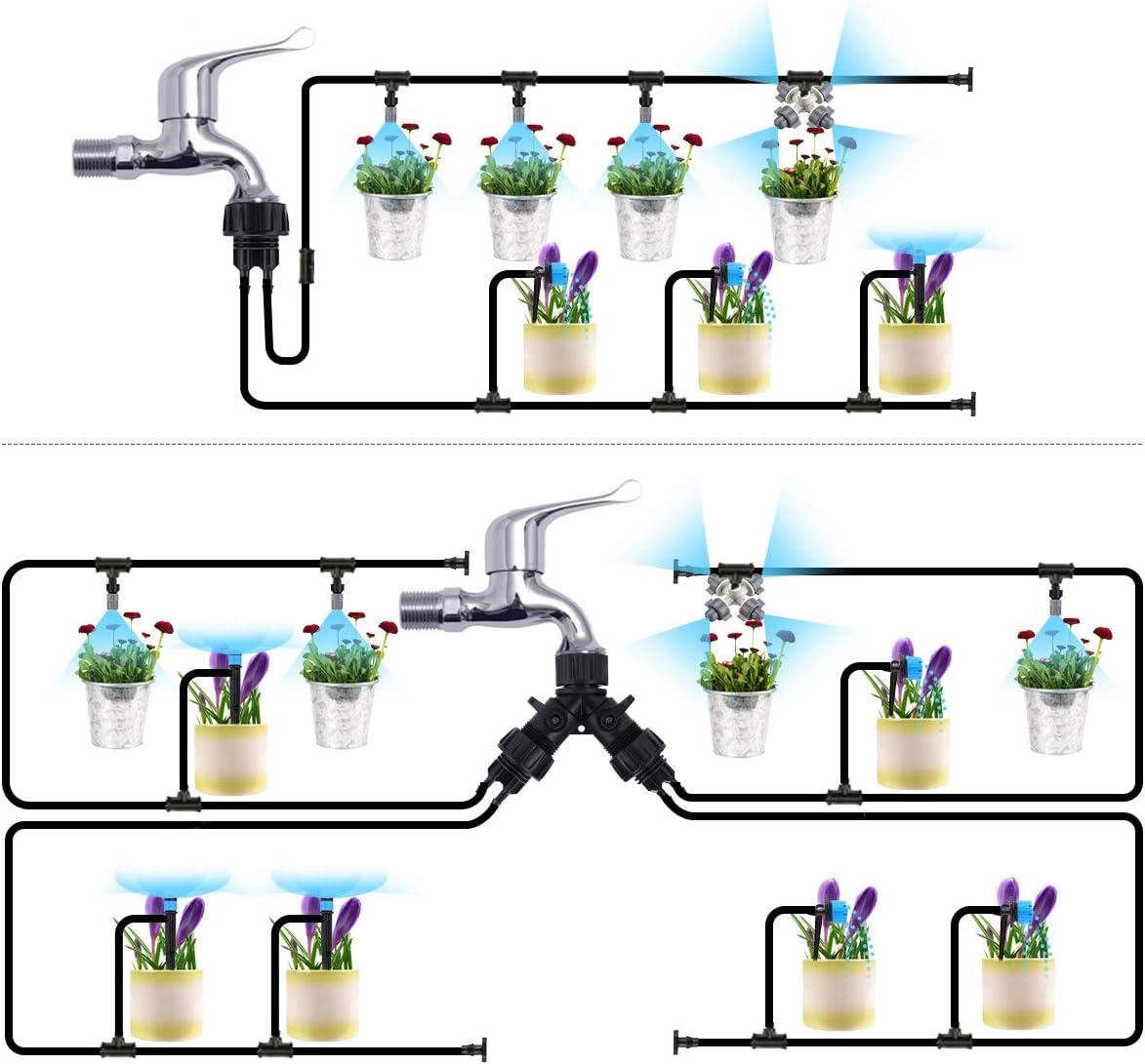 Jeteven 40M Bew/ässerungssystem,Automatik Mikro Bew/ässerungssets Pflanzen Tr/öpfchenbew/ässerung Gartenbew/ässerung Bew/ässerungsger/ät Misting K/ühlsystem f/ür Garten Zimmerpflanzen Gew/ächsh/äuser Blumenbeete