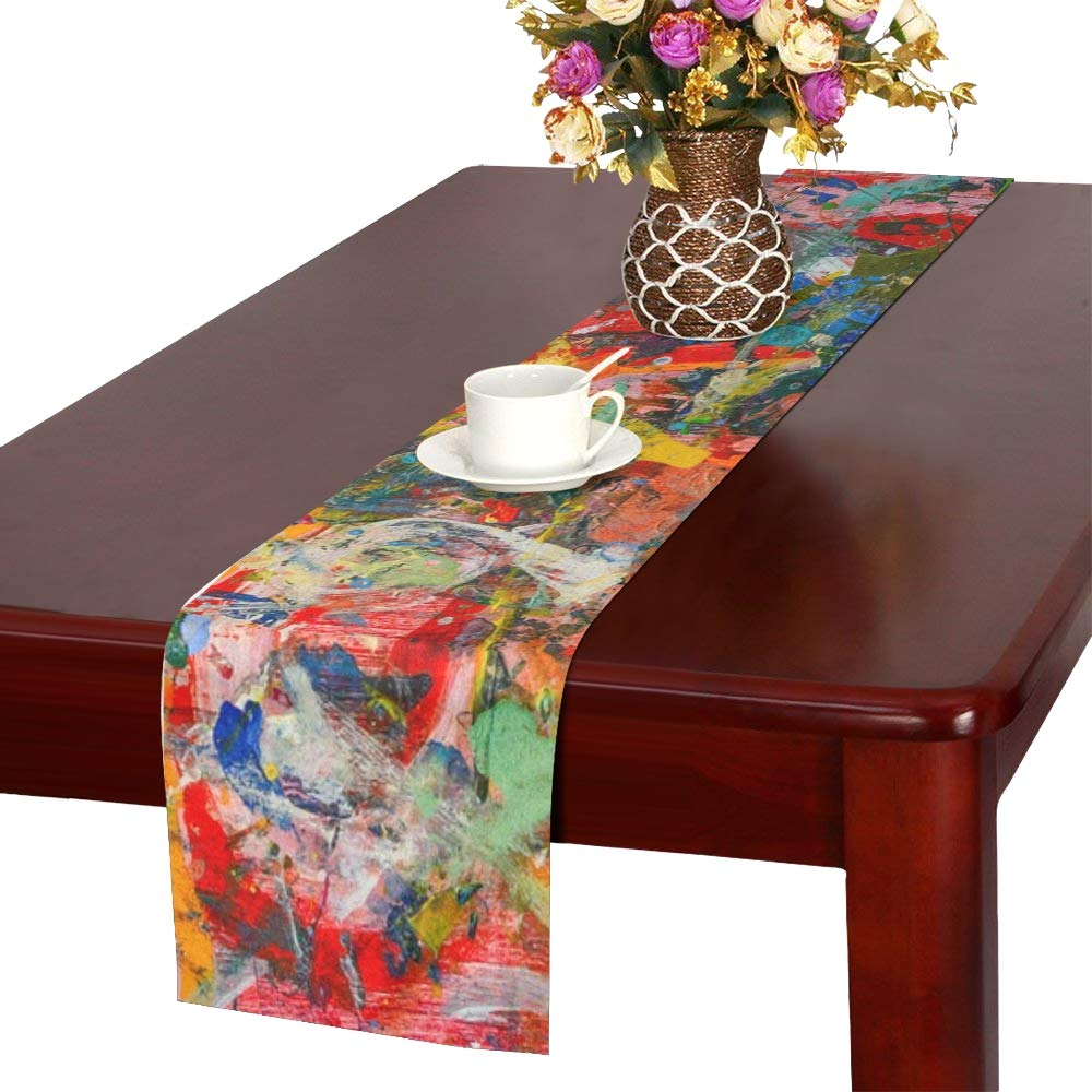 Art Painting Color Canvas Artistic Abstract Paint Table Runner, Kitchen Dining Table Runner 16 X 72 Inch For Dinner Parties, Events, Decor