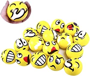 LovesTown Emoji Stress Balls,24 PcsEmoji Face Squeeze Balls for Hand Wrist Finger Exercise Stress Relief Therapy Squeeze