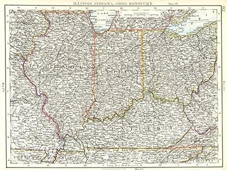 map of ohio kentucky and indiana Amazon Com Usa Mid West Illinois Indiana Ohio Kentucky 1897 map of ohio kentucky and indiana