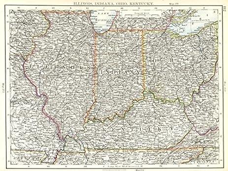 Amazoncom USA MID WEST Illinois Indiana Ohio Kentucky1897 map