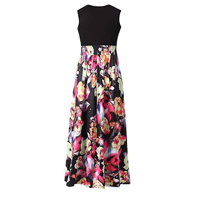 c01aeb89829919 YULAND Kleider Sommer Damen Sommerkleid Damen Lang Knielang Kleid ...