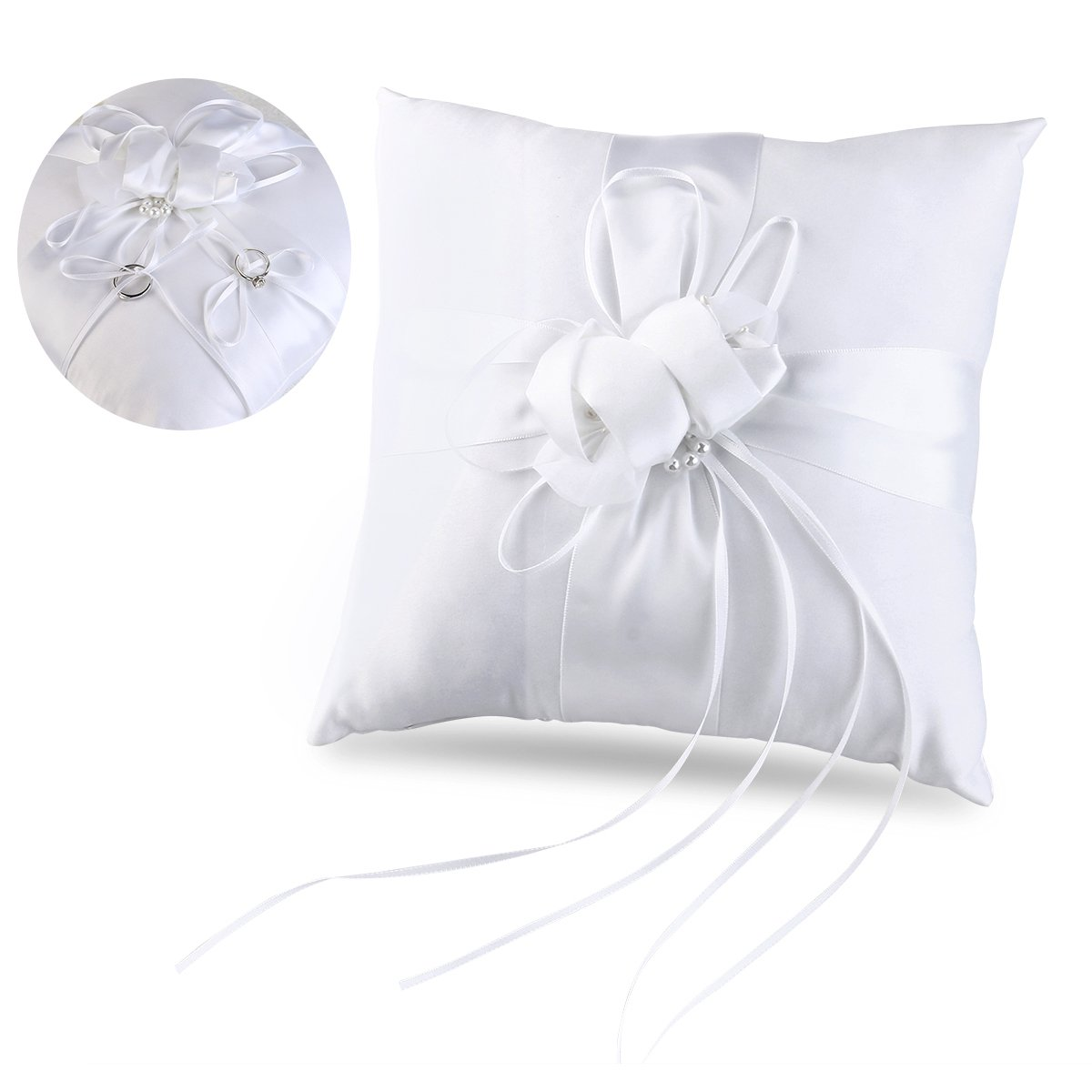 Tinksky Ring Bearer Pillow Flower Buds Faux Pearls Decor Wedding Ring Pillow with Ribbons 10 Inch10 Inch (Pure White)