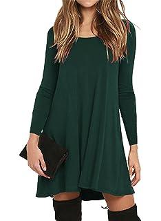 7f326d19863 GABREBI Women s Pockets Casual Swing T-Shirt Dresses Long Sleeve Loose Tank  Top Plus Size