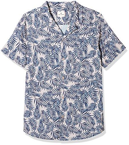 Tropical Floral Camp Shirt - Rebel Canyon Young Mens Short Sleeve allover Tropical Print Camp Shirt Mauve Floral Medium