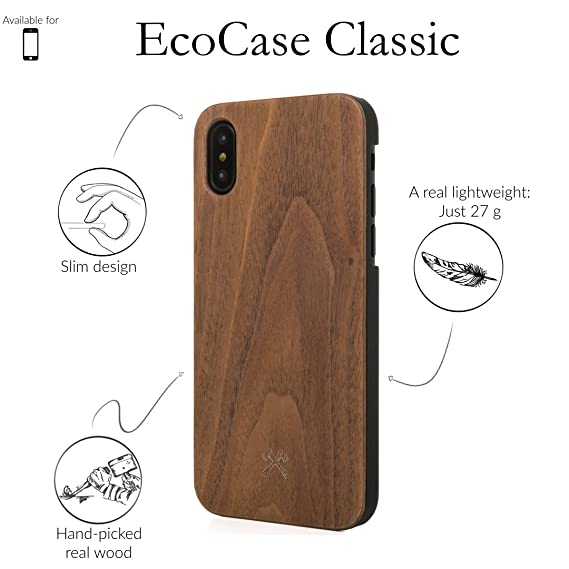 Woodcessories - Case Compatible with iPhone Xs Max of Real Wood, EcoCase Classic (Walnut/Black)