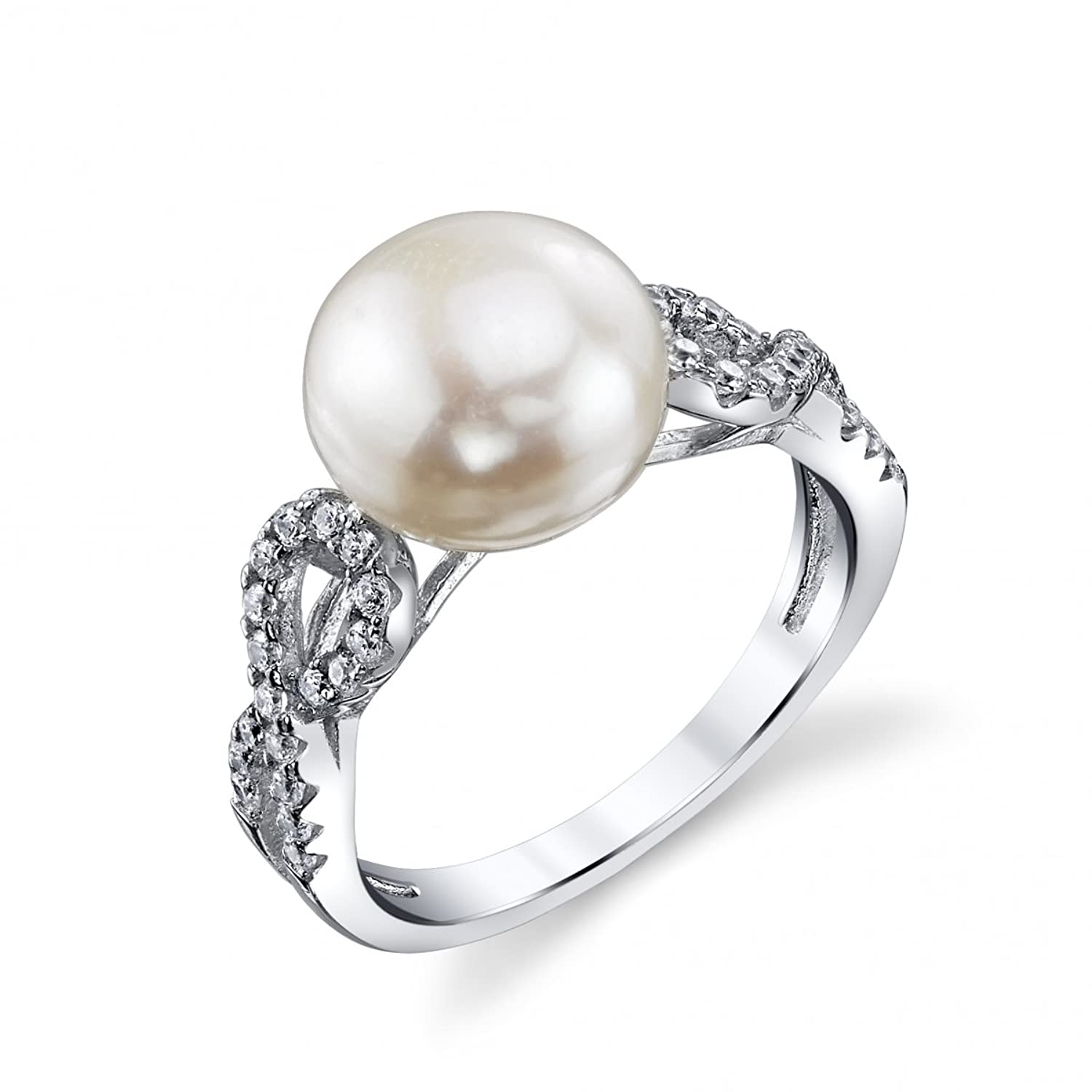 11mm White Freshwater Cultured Pearl & Crystal Ribbon Ring