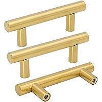 "goldenwarm 25pcs Brushed Brass Kitchen Cabinet Hardware Handle 1/2"" Diameter T Bar Handles Furniture Gold Door Drawer…"