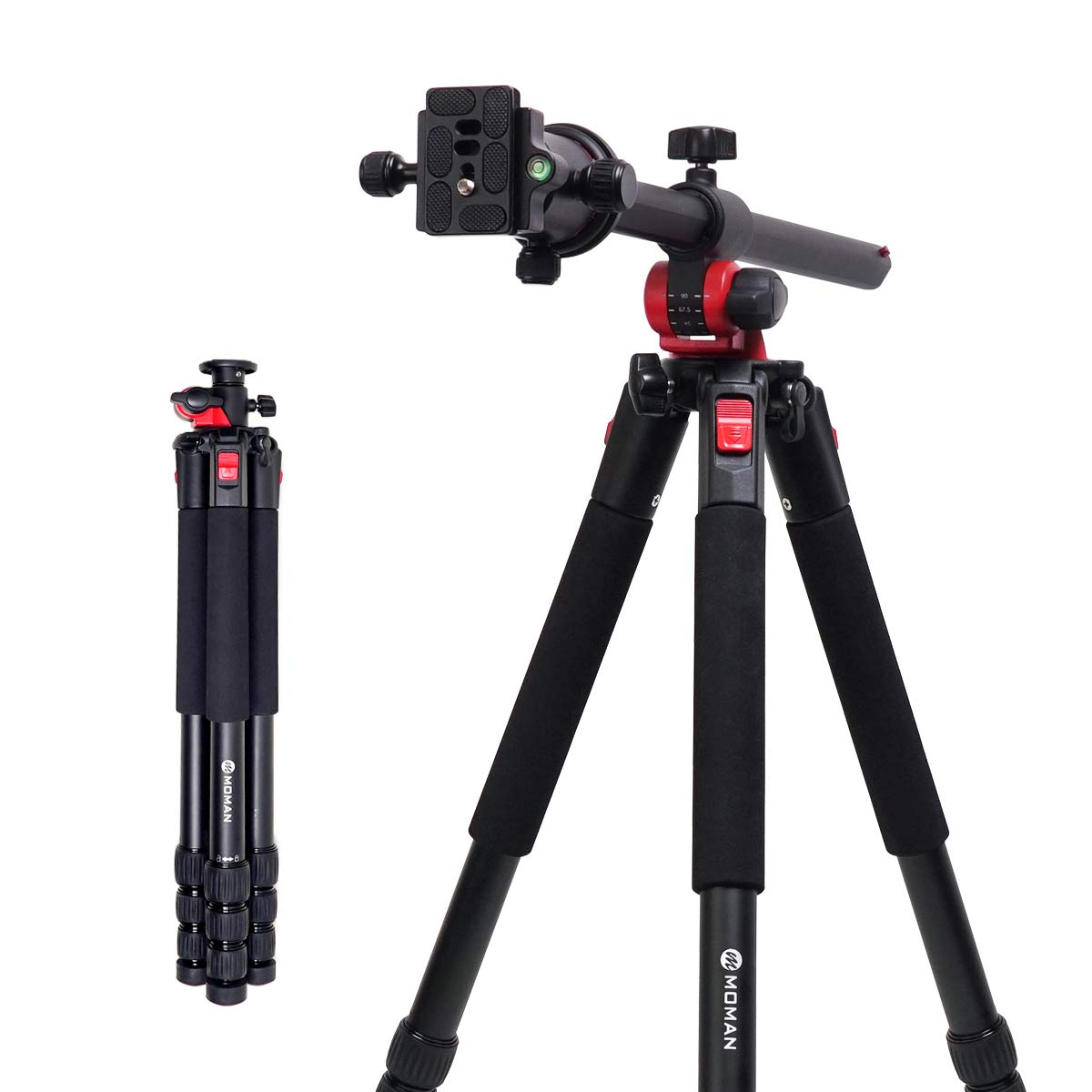 Moman Camera Tripod with Telescopic Horizontal Column Arm and Ball Head for Macro Shoot/Overhead Photography/Travel / DSLR Camera Video Camcorder