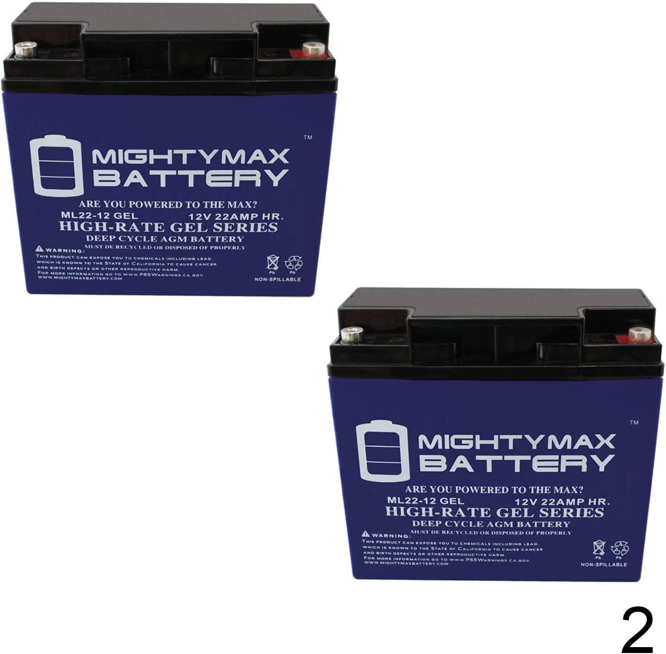 Mighty Max Battery 12V 22AH Gel Battery for Minuteman M220028K17 2 Pack Brand Product M220028K17 Scrubber