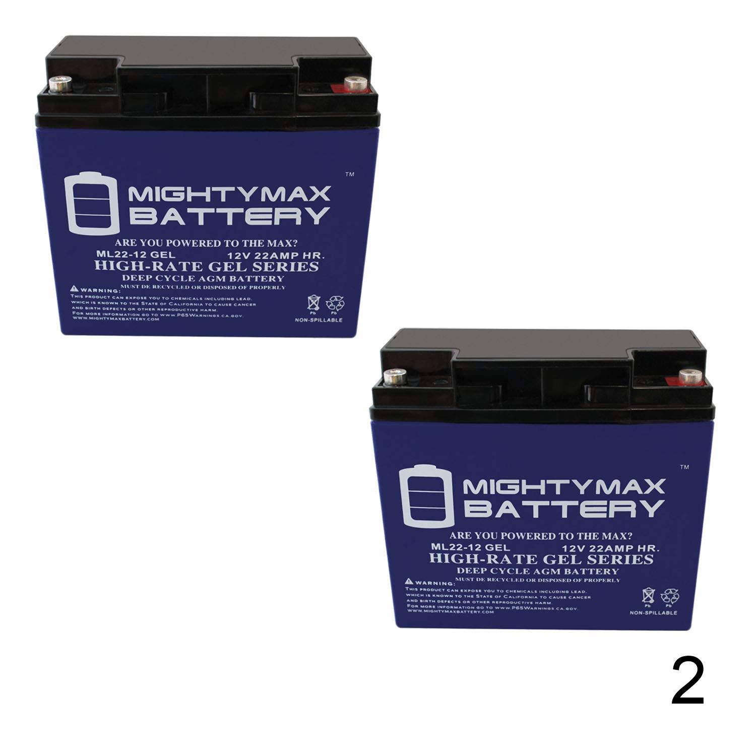 Mighty Max Battery 12V 22AH Gel Battery Replaces 51814 6fm17 6-dzm-20 6-fm-18-2 Pack Brand Product