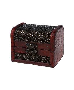 TOOGOO(R) Bronze ton Fleur relief Style ancien Boite boite a bijoux en bois