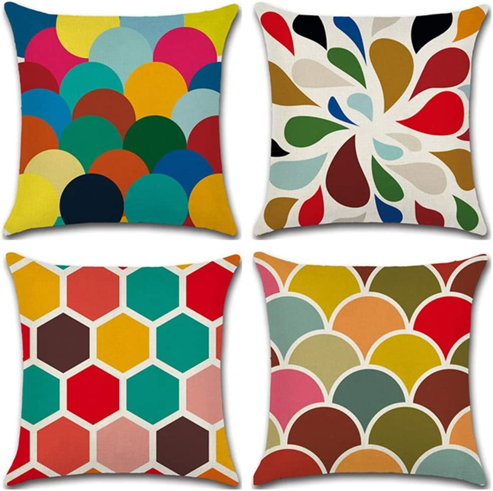 HuifengS Fundas de cojín cuadradas de lino y lino, diseño geométrico para sofás, camas, sillas, fundas de cojín, juego de 4, 45,7 x 45,7 cm