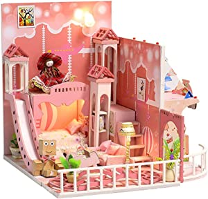 Eoncore DIY Miniature with Furniture Piano Pink House Dollhouse Kit with Light, Dust Proof Cover, Wood Family Toy for Boys Girls