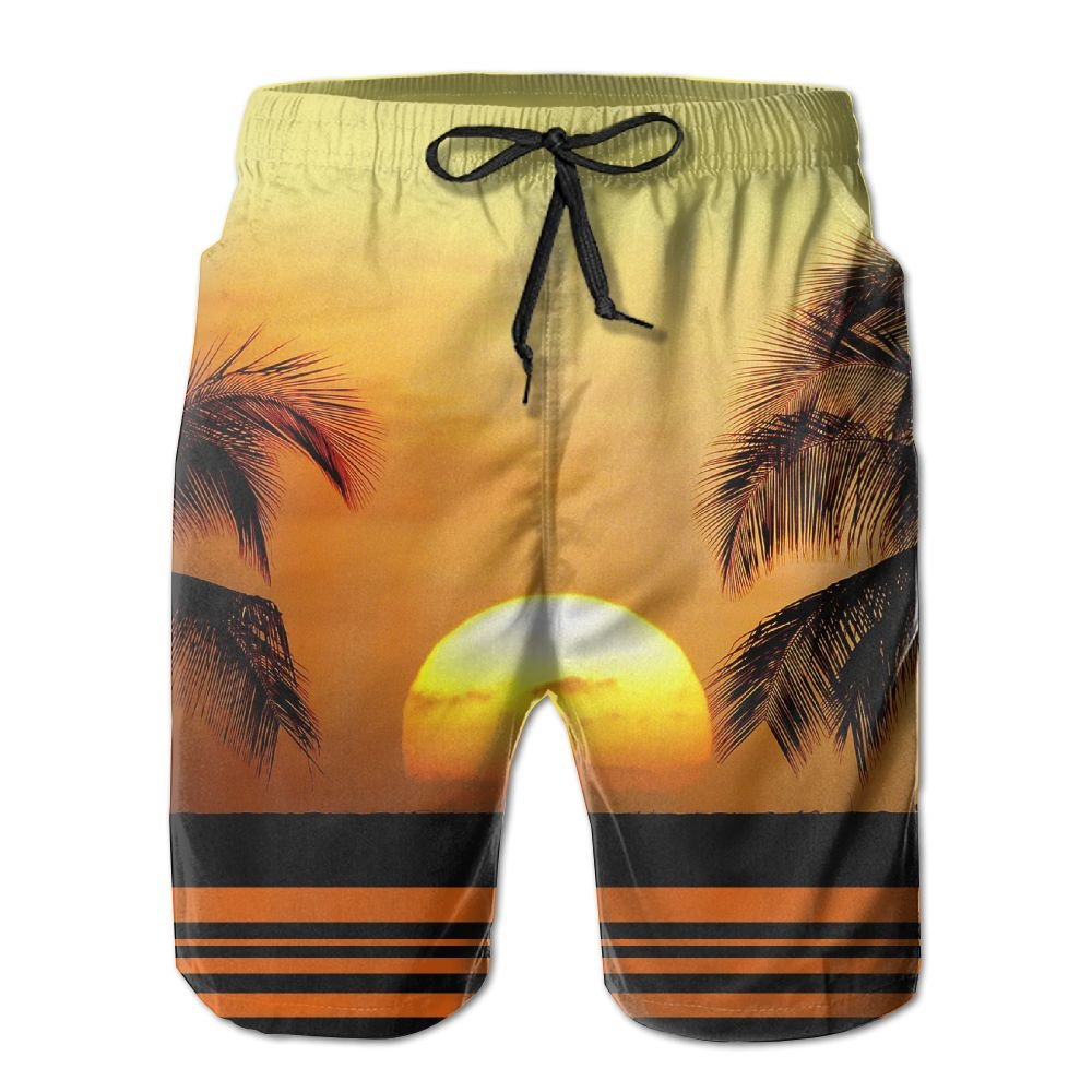 MIPU SHANGMAO Mens Beautiful Coconut Palms Summer Beach Shorts Leisure Quick Dry Swimming Pants
