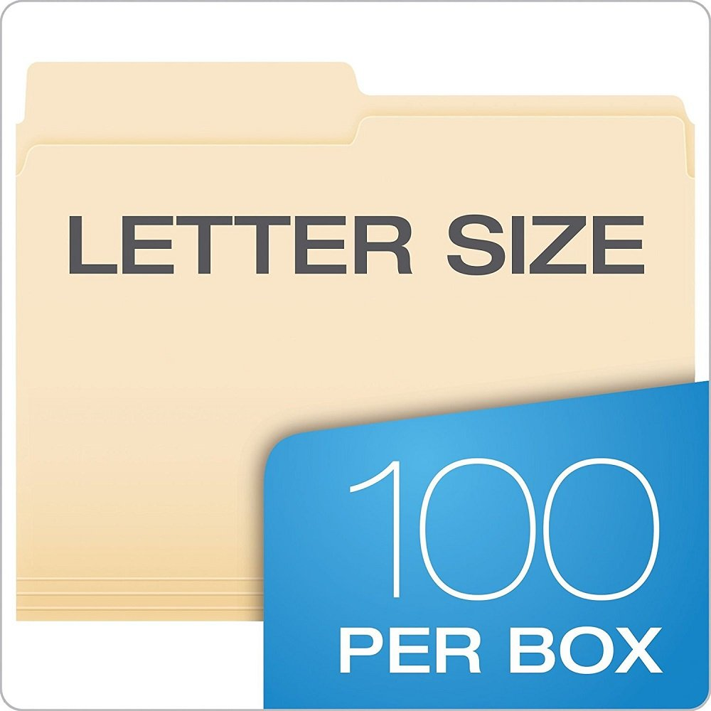Pendaflex Essentials File Folders, Letter Size, Manila, 100 per Box (752 2/5RE) qTVwAo, 3Pack (2/5 Cut, Right)
