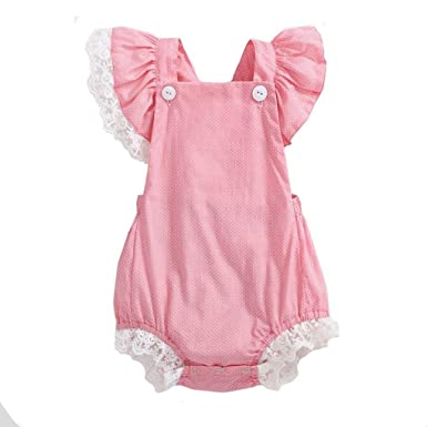 6da0aeb56103 Amazon.com  Baby Girl Newborn Infant Toddler Romper 0-24M Cuekondy Cute  Summer Dot Printing Cotton Lace Jumpsuit Playsuit Outfits  Clothing