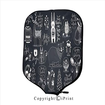 Neoprene Material,Durable Quality Paddle Cover,Cute Forest Animals Set Chalkboard Style 1(
