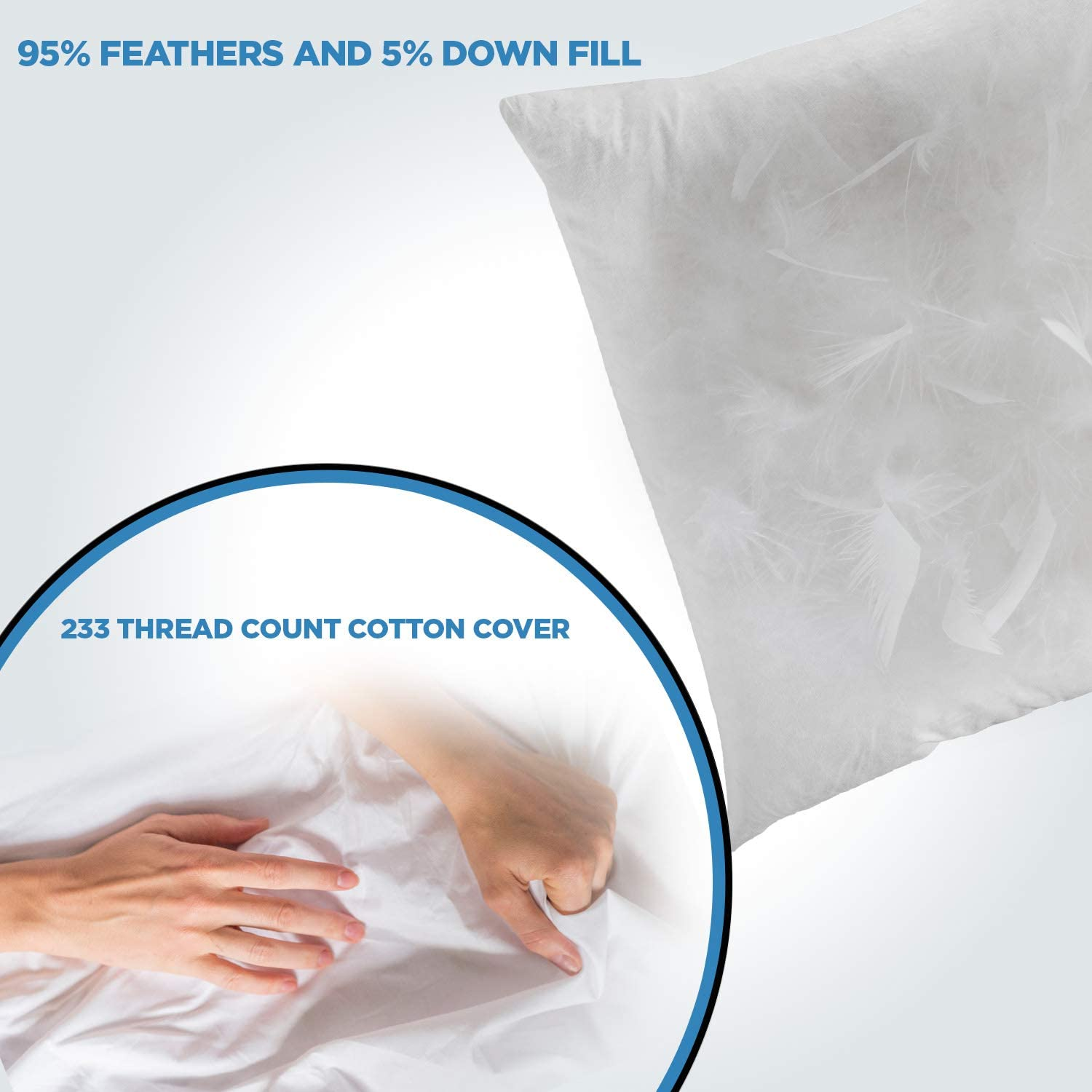 Amazon Com Comfydown 95 Feather 5 Down 14 X 30 Rectangle Decorative Pillow Insert Sham Stuffer Made In Usa Home Kitchen