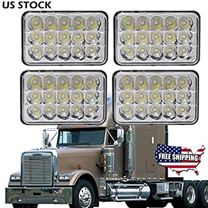 4PCS 4X6 LED Headlights for Freightliner FLD120/FLD112/Condor Kenworth  W900/T2000/T800/T600A/C500 Peterbilt 265/362/320, Sealed Beam High Low  H4651