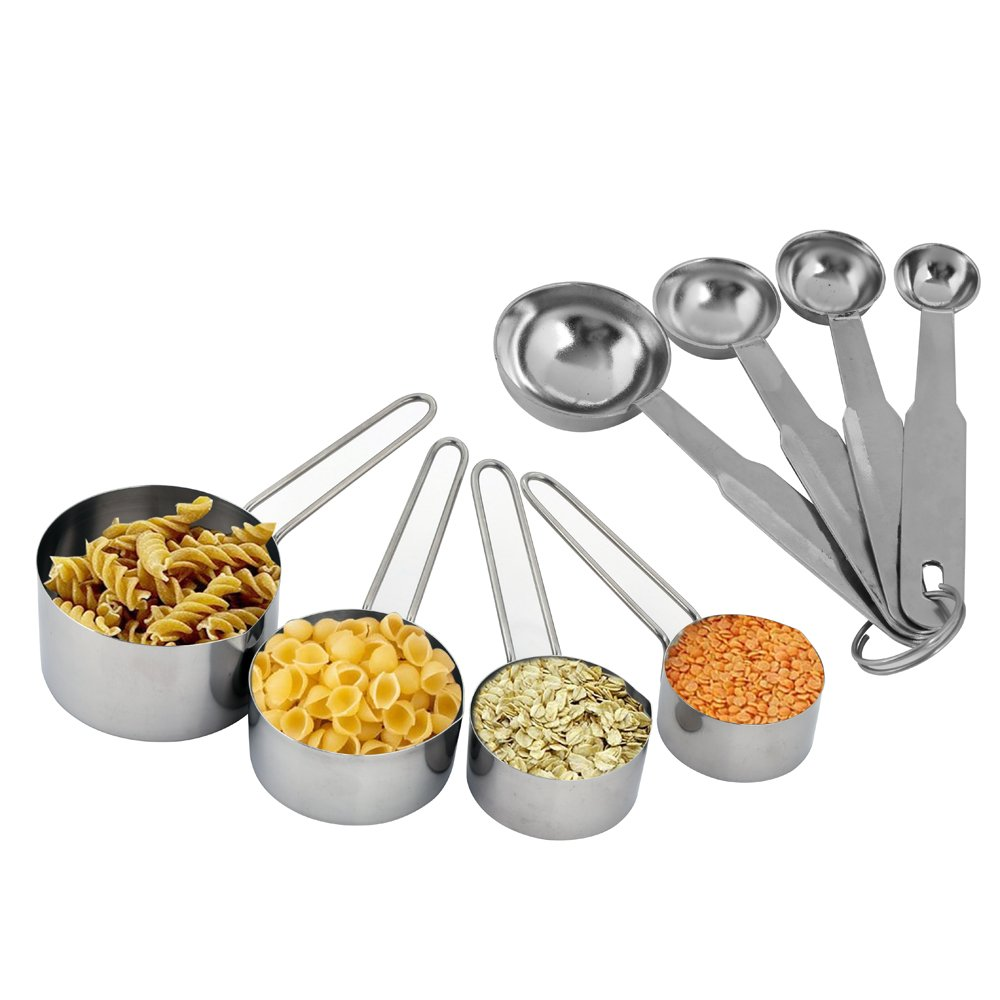 Kosma 4 Piece Stainless Steel Measuring Cup Set with FREE 4 Piece Measuring Spoon Set Montstar Global KG-21316