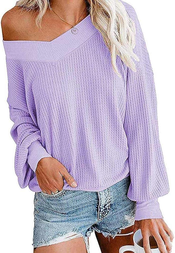Tobrief Womens V Neck Long Sleeve Waffle Knit Tops Off Shoulder Oversized Pullover Sweater