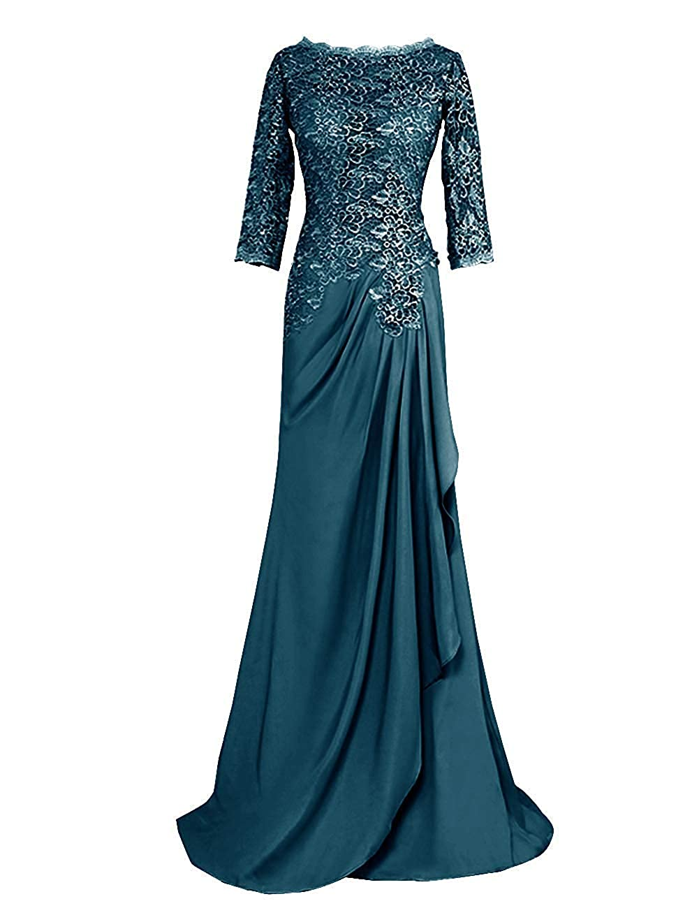 Teal Mother of The Bride Dresses Long Sleeve Lace Evening Dress Formal Gowns Mother Gown
