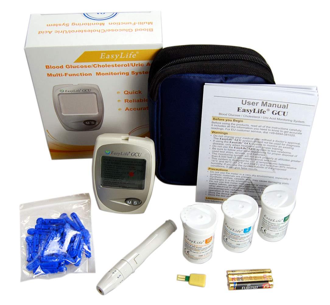 Blood Cholesterol Monitor kit 3 in 1 Meter System, EasyLife Blood Cholesterol, Blood Glucose and Blood uric Acid Test kit