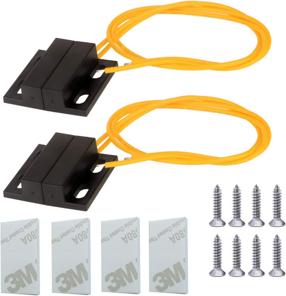 Gebildet 2set 100V-240V Recessed Security Window Gate Contact Sensor Alarm Magnetic Reed Switch with Yellow Wire,Normally Closed Magnetic Switch