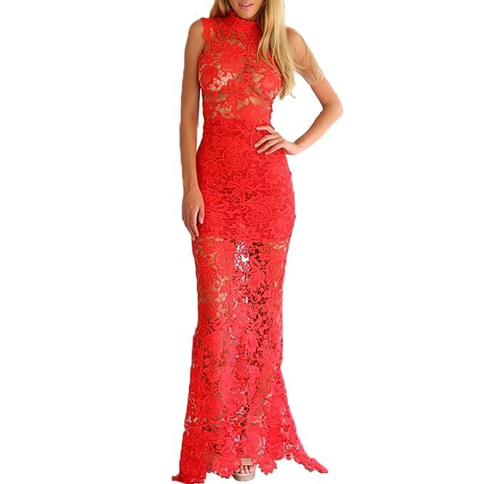 02f07ba6a7a9 ABILIO - vestito lungo abito pizzo nero donna elegante sera maxi vestito  rosso cerimonia ROSSO Taglia unica  Amazon.it  Abbigliamento